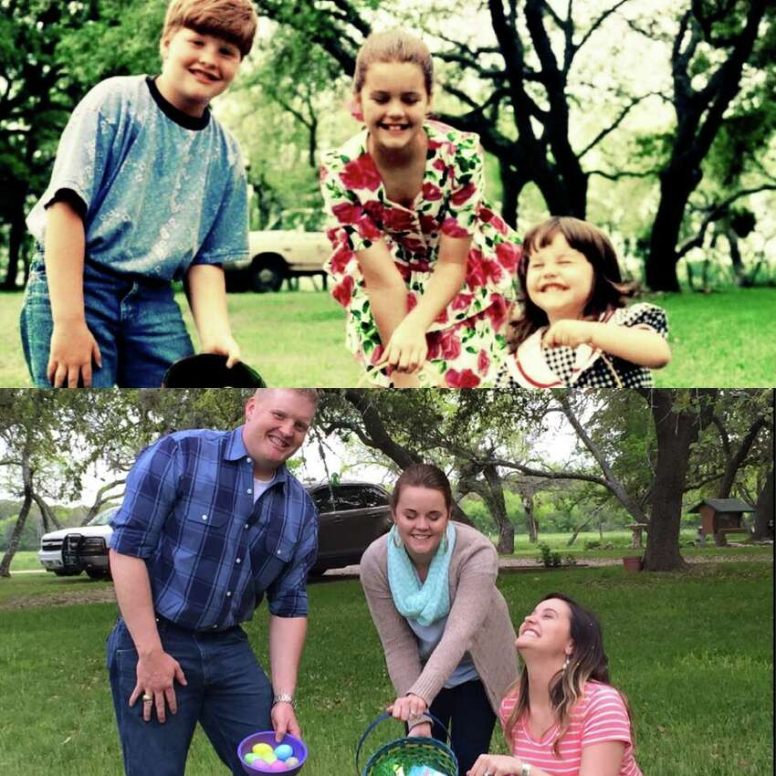 Left to right: Chad Lee, Jeanette Lee Driffill, Shelly Lee Zawadzki Early photo taken on Easter 1994, latest taken this year at Easter 2015. Both taken at the Boehme-Lee Ranch. Submitted by Shirley Lee (the Mom!),