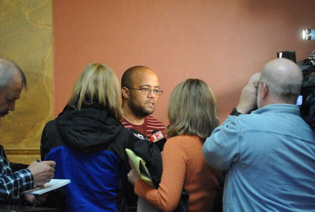 Vanessa Milligan, father, Nate Milligan speaks with the media following the bail hearing for Gabriel Vega, charged with the murder of Vanessa Milligan, in Rensselaer County Court on Friday Oct. 31, 2014 in Troy, N.Y. (Michael P. Farrell/Times Union)