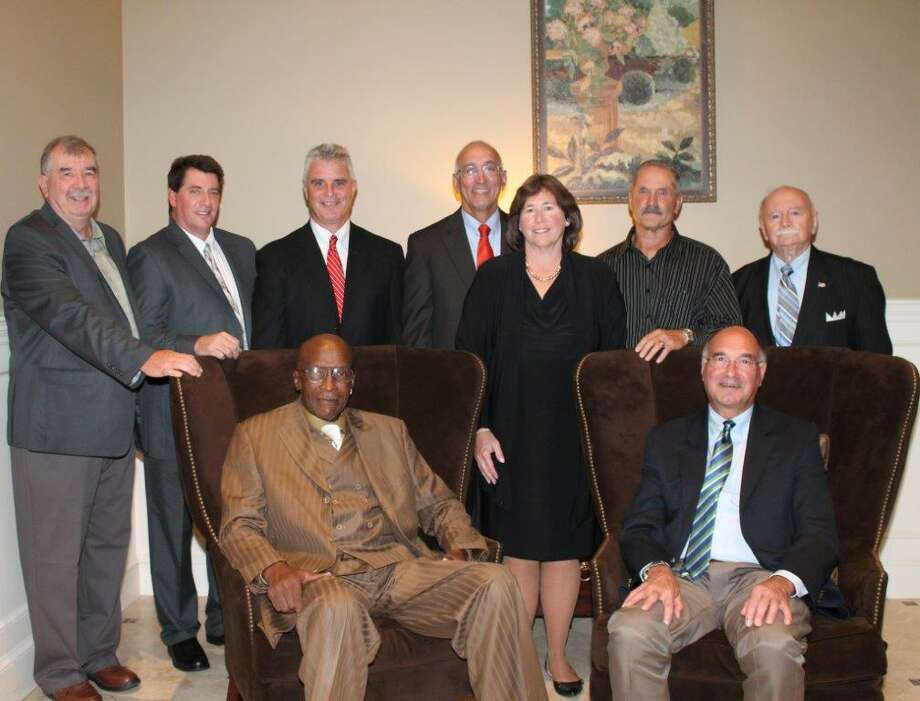 Pictured are the award winners from this year's Danbury Old Timers awards banquet, held Sept. 24, 2015, at the Amber Room Colonnade in Danbury. Seated are Sylvester Vines (left) and Tony Sacowitz. Standing (from left to right) are Harry Trohalis, Chris Arconti, Shaun Ratchford, Tom Pardalis, Nancy Bowen, Walt Belardinelli and John Esposito. Photo: Contributed Photo / Contributed Photo / News-Times Contributed