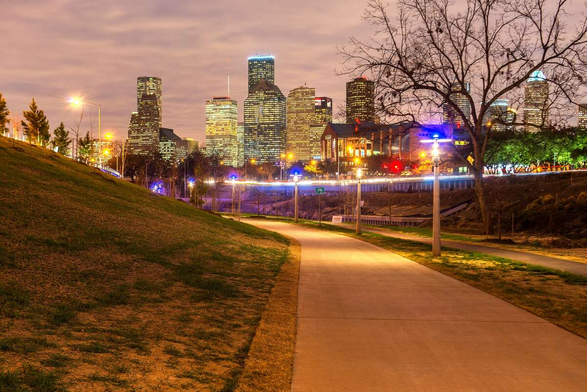 The lights in Buffalo Bayou Park change with the phases of the moon. (For more photos and a map, scroll through the gallery.)