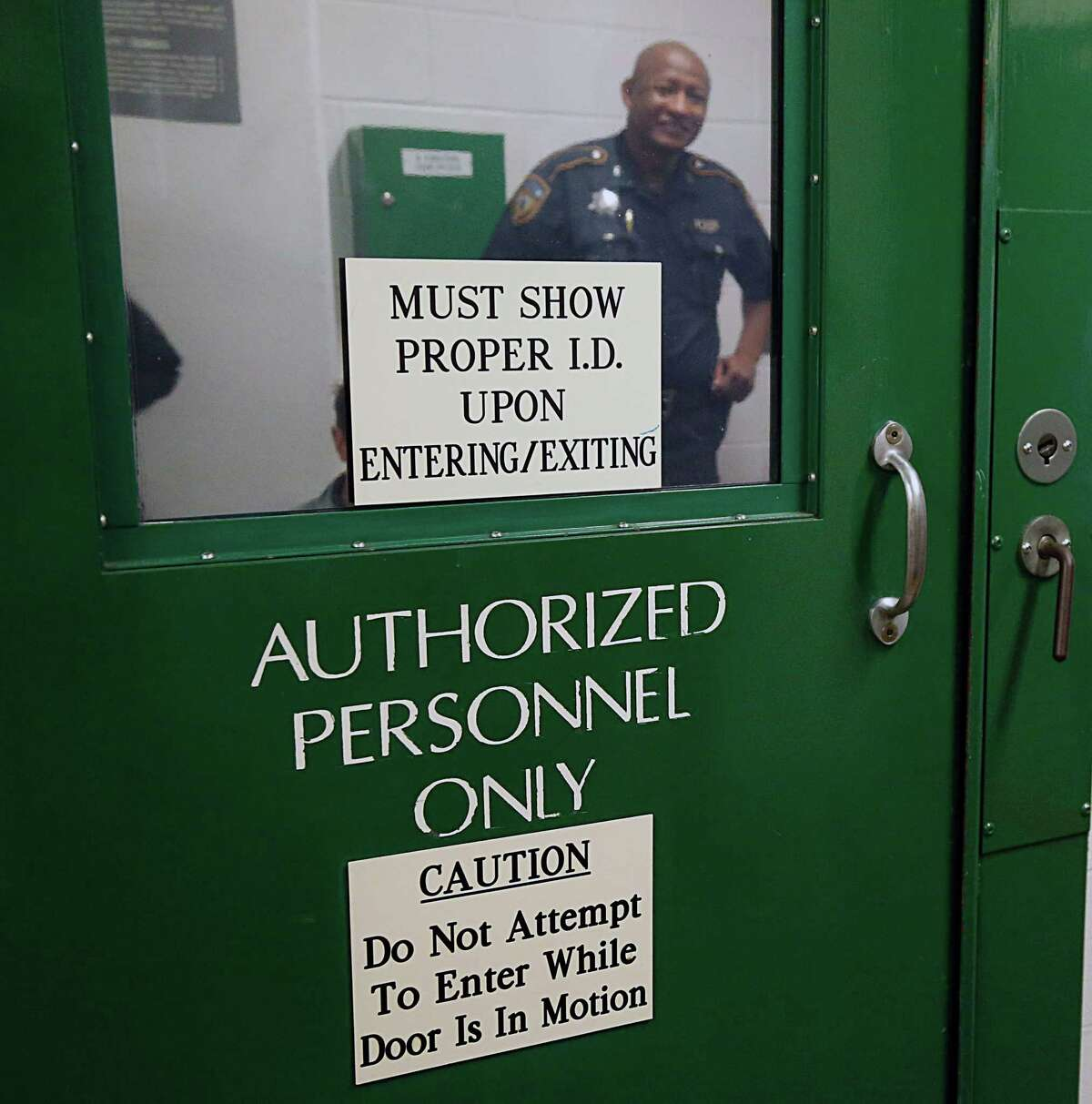 A Harris County Sheriff Deputy is on duty during a tour of one of the county's maximum security jail facilities located at 1200 Baker street on Friday, Sept. 25, 2015.