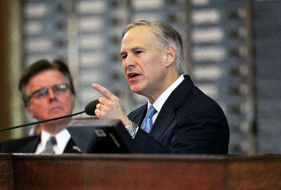 Texas Gov. Greg Abbott  discusses  border security concerns during his first State of the State address to state lawmakers Tuesday, Feb. 17, 2015, in Austin. Photo: Tom Reel, San Antonio Express-News