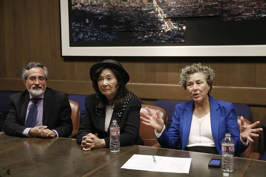 Candidates for San Francisco District 3 supervisor Aaron Peskin (left), Wilma Pang (middle), and incumbent Julie Christensen (right) meet with the editorial board for a debate at San Francisco Chronicle in San Francisco, Calif., on Wednesday, September 30, 2015. Photo: Liz Hafalia, The Chronicle