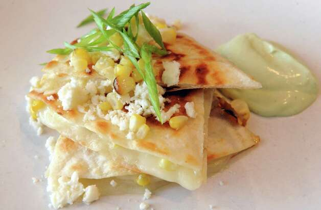 Corn quesadilla with hatch chiles, Monterey Jack cheese and queso cotija at Cella Bistro on Friday, Sept. 25, 2015, in Schenectady, N.Y.  (Michael P. Farrell/Times Union) Photo: Michael P. Farrell / 10033501A