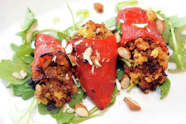 Stuffed piquillo peppers at Cella Bistro on Friday, Sept. 25, 2015, in Schenectady, N.Y.  (Michael P. Farrell/Times Union) Photo: Michael P. Farrell / 10033501A