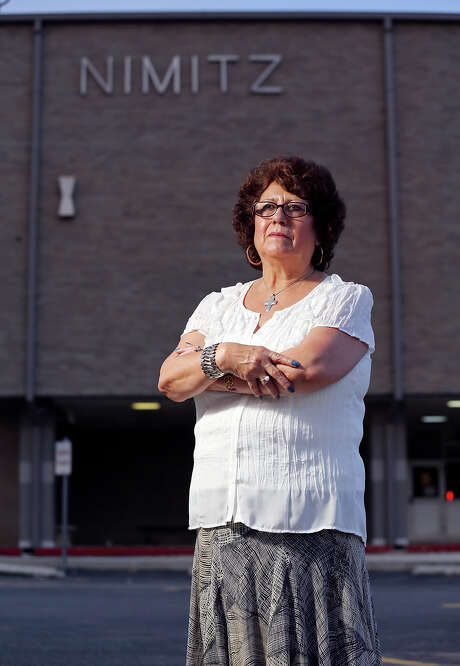 Columba Wilson in front of Nimitz Middle School in 2014, where her advocacy on behalf of her grandson led to an altercation with a North East ISD executive and a court challenge to the district's resulting trespass warning. Photo: Edward A. Ornelas /San Antonio Express-News / © 2014 San Antonio Express-News