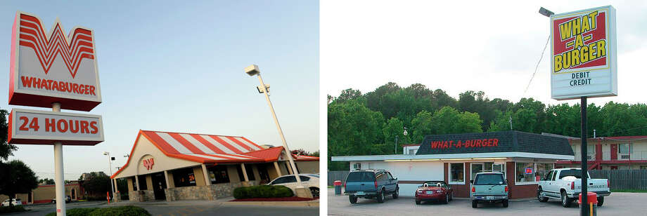 Whataburger vs. What-A-Burger?The two similar-sounding burger restaurants opened in Texas and Virginia at about the same time without knowing a thing about the other. In the '70s, they worked out an agreement in which they both could keep their once-unique-but-suddenly-not-as-much names.See 10 more things you probably didn't know about Whataburger ... Photo: Getty Images, Wikimedia Creative Commons License