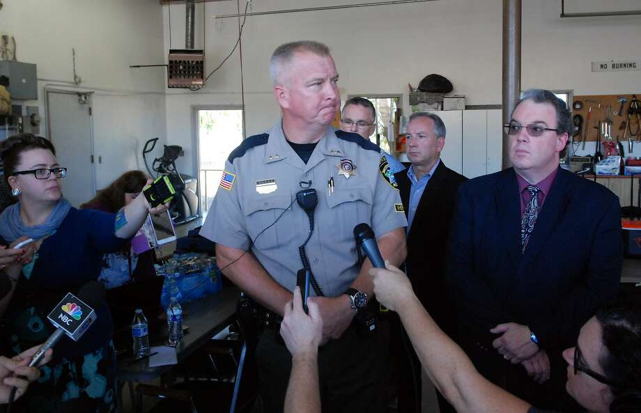 Douglas County Sheriff John Hanlin addresses the media following a deadly shooting at Umpqua Community College in Roseburg, Ore., Thursday, Oct. 1, 2015.   (AP Photo/Jeff Barnard) Photo: Jeff Barnard, Associated Press