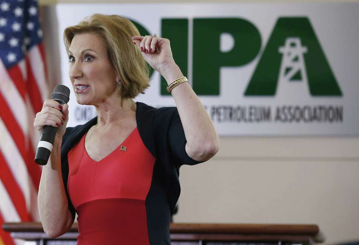 Republican presidential candidate, businesswoman Carly Fiorina, speaks to a group of more than 200 people at the Oklahoma Independent Petroleum Association in Oklahoma City on Tuesday. She is admired and feared by feminists.