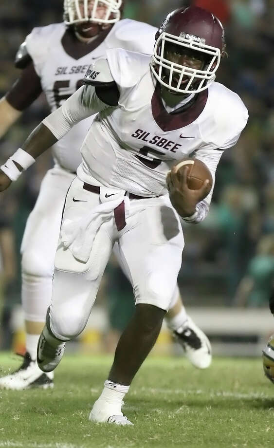 Silsbee's Dontre Thomas, 5, runs the ball during the game between the Silsbee Tigers and the Little Cypress-Mauriceville Bears at Bear Stadium in Little Cypress Friday night, September 25th, 2015 - photo provided by Kyle Ezell