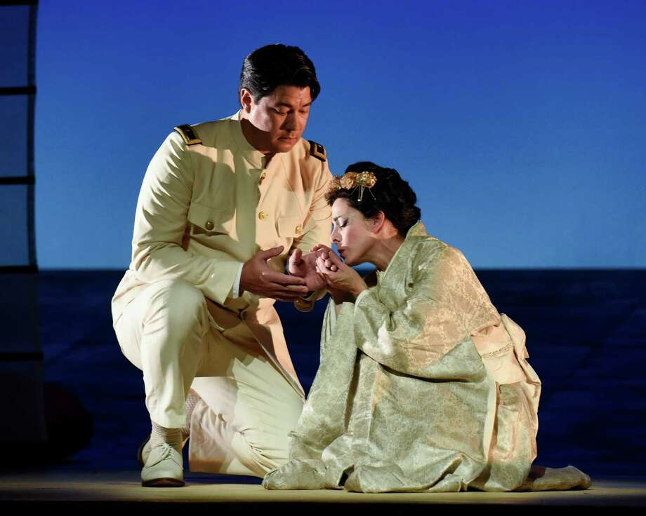 "2.	Soprano Maria Kanyova, right, and tenor Adam Diegel, star in Giacomo Puccini's ""Madama Butterfly"" in an Opera San Antonio production at the Tobin Center for the Performing Arts. Photo: Courtesy"