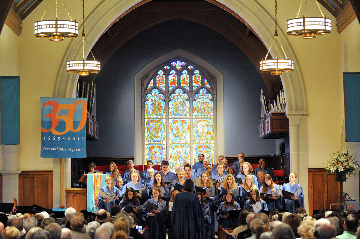 First Congregational Church Youth Choir performs during the Music and Friendship Sunday opening celebration of the 350th anniversary at The First Congregational Church of Greenwich in Old Greenwich. The church is holding a