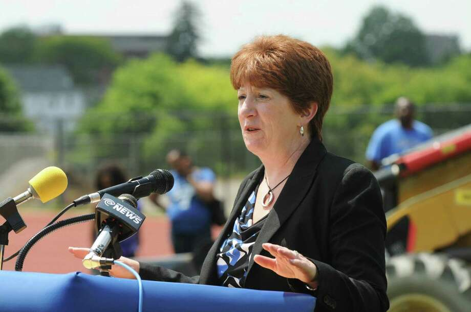 Albany Mayor Kathy Sheehan speaks during the groundbreaking ceremony to celebrate construction of a new athletic field at the Albany High School track on Tuesday, July 21, 2015, in Albany, N.Y. (Olivia Nadel/ Special to the Times Union) Photo: ON / 00032687A