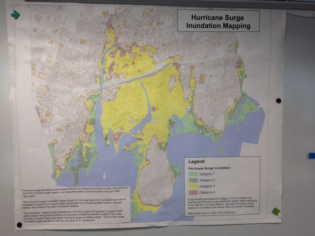 A map of Stamford showing by category of hurricane surge, which areas of the city are predicted to be inundated by water.