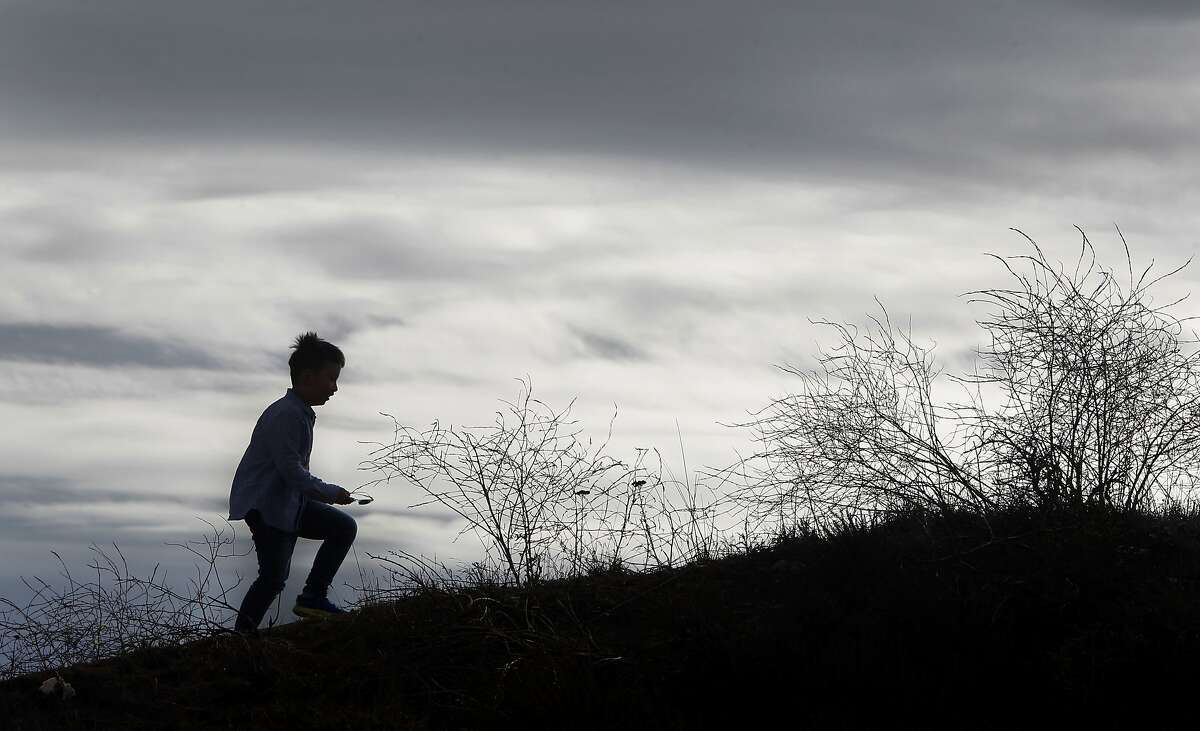 A young visitor climbs a trail in the Marin Headlands on Thursday, Oct. 1, 2015.