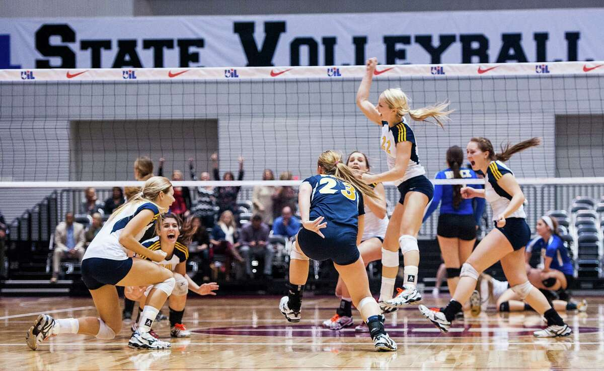 Poth celebrates a 3-0 win over Brock during their UIL Class 3A state championship volleyball match on Nov. 22, 2014 at the Cullwell Center in Garland.