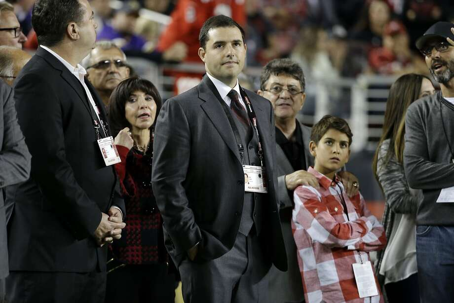 San Francisco 49ers owner Jed York watches from the sideline with his mother Denise DeBartolo York, left, and uncle Eddie DeBartolo Jr., right, during an NFL football game against the Minnesota Vikings in Santa Clara, Calif., Monday, Sept. 14, 2015. (AP Photo/Marcio Jose Sanchez) Photo: Marcio Jose Sanchez, Associated Press