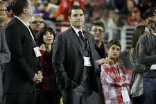 San Francisco 49ers owner Jed York watches from the sideline with his mother Denise DeBartolo York, left, and uncle Eddie DeBartolo Jr., right, during an NFL football game against the Minnesota Vikings in Santa Clara, Calif., Monday, Sept. 14, 2015. (AP Photo/Marcio Jose Sanchez)
