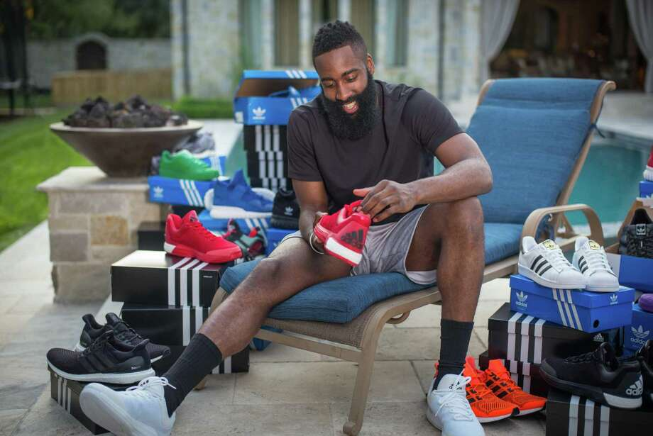 "James Harden says he looks forward to having a say in his Adidas products. ""Whether designing my shoe, designing my clothing, just everything the brand has to offer, I definitely will voice my opinion."""