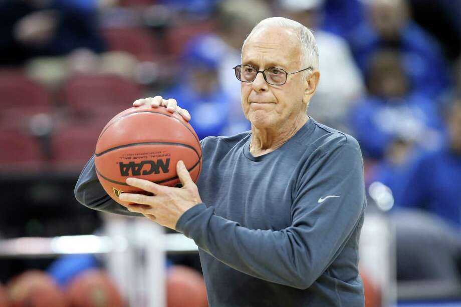 SMU coach Larry Brown watches his team during practice at the NCAA college basketball tournament in Louisville, Ky., on March 18, 2015. The NCAA banned the SMU men's basketball team from postseason play Tuesday, Sept. 29, 2015, and suspended Brown for nine games after concluding that he lied to investigators, ignored academic fraud and fell far short of expectations in leading his staff when it came to compliance. Photo: David Stephenson /Associated Press / FR171246 AP