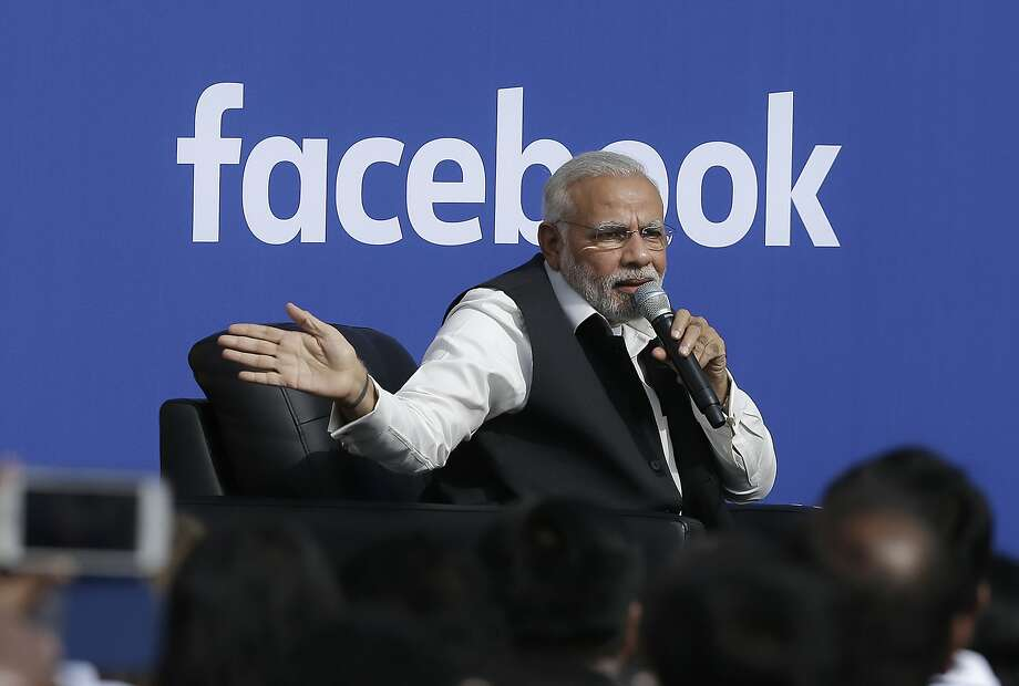 Prime Minister Narendra Modi speaks last Sunday at Facebook. Photo: Jeff Chiu, Associated Press