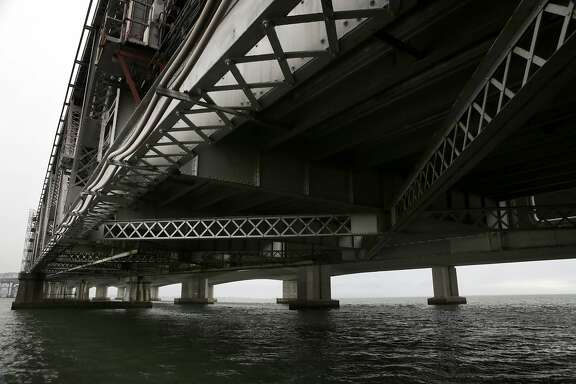 The underside of the old Bay Bridge span is seen near its eastern end in Oakland on Thursday, November 13, 2014. Some of the concrete piers at the east end of the old span may be left in place after the historic bridge is demolished.