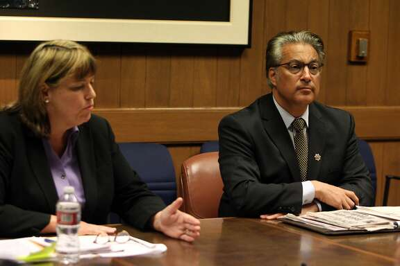 From left,  Vicki Hennessy  and Incumbent Ross Mirkarimi , candidates for the San Francisco County Sheriff's position address and respond to each others questions during a  debate with the San Francisco Chronicle editorial board .October 1, 2015.