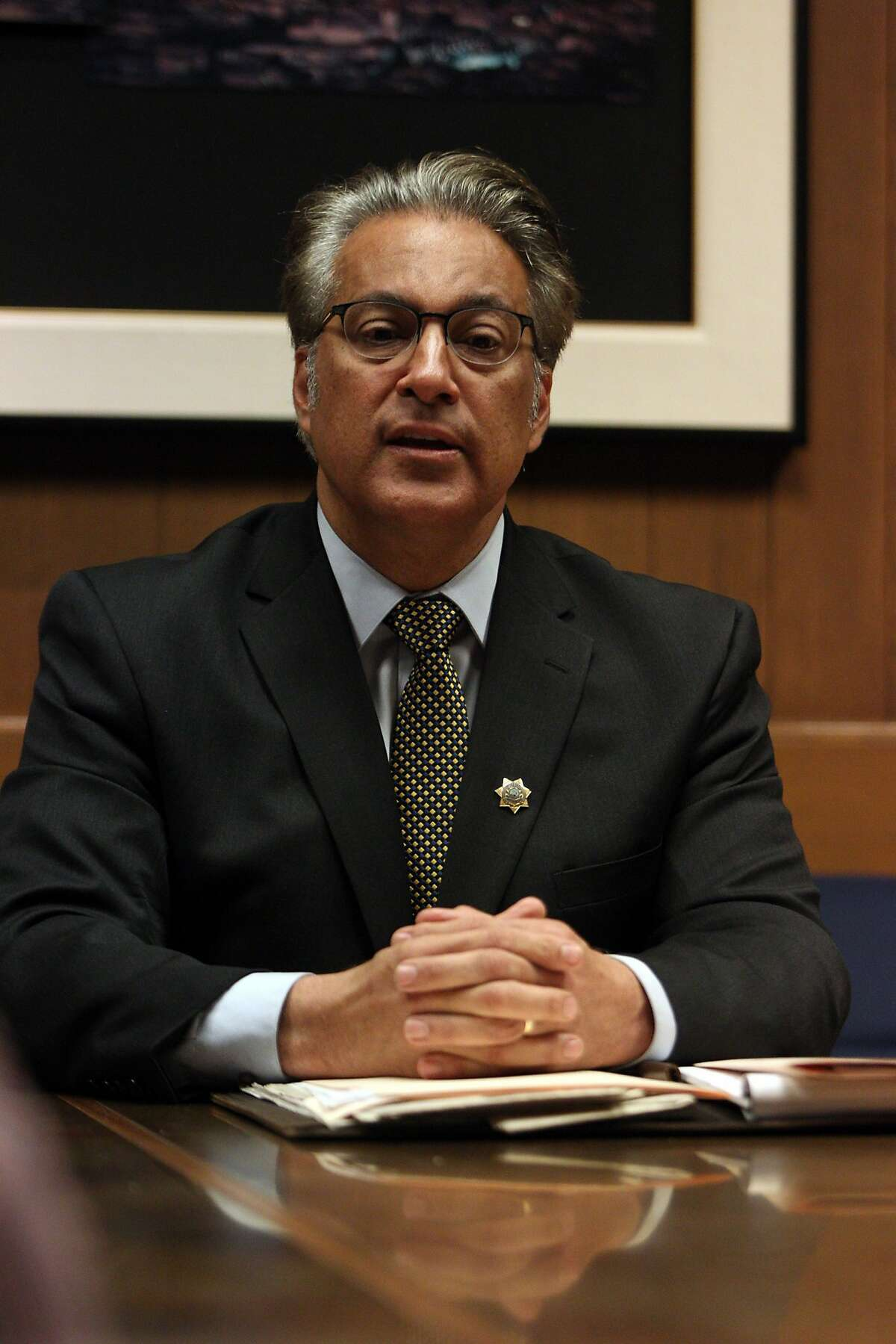 Incumbent San Francisco County Sheriff Ross Mirkarimi responding to questions during a debate hosted by the San Francisco Chronicle editorial board October 1, 2015.