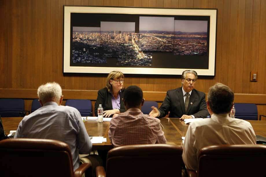 From left,  Vicki Hennessy  and incumbent Ross Mirkarimi , candidates for the San Francisco County Sheriff's position take part in a debate with the San Francisco Chronicle editorial board October 1, 2015. Photo: Franchon Smith, The Chronicle