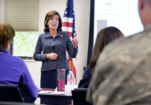 Lt. Gov. Kathy Hochul speaks with veterans taking the the Boots to Business jobs initiative during her tour of the Watervliet Arsenal Thursday Oct. 1, 2015 in Watervliet, NY.   (John Carl D'Annibale / Times Union) Photo: John Carl D'Annibale / 10033580A