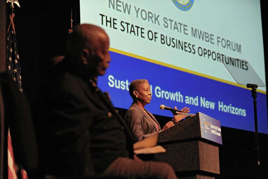 Keynote speaker Ursula Burns, Chairman and Chief Executive Officer, Xerox Corporation, gives a presentation during the fifth annual New York State Minority and Women Business Enterprises (MWBEs) forum at the Empire State Plaza on Thursday, Oct. 1, 2015 in Albany, N.Y. (Lori Van Buren / Times Union) Photo: Lori Van Buren / 10033582A