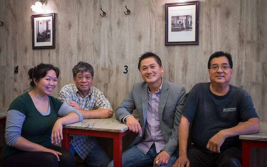 From left, Julie Ho, David Ho, Benson Lai and Steven Lee inside the new Sam Wo. The legendary restaurant closed in 2012 after servicing the Chinatown community for over 100 years and is now reopening in a new location. Photo: Nathaniel Y. Downes, The Chronicle