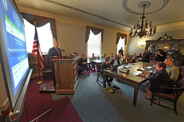 Mayor Gary McCarthy explains his projections for the 2016 budget for the City of Schenectady Thursday morning, Oct. 1, 2015, at City Hall in Schenectady, N.Y. (Skip Dickstein/Times Union) Photo: SKIP DICKSTEIN / 10033558A