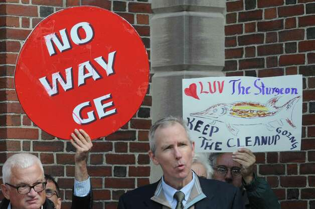 Scenic Hudson President Ned Sullivan speaks during a press conference and protest on the state of the GE Hudson River PCB cleanup on Thursday Oct. 1, 2015, at Saratoga Spa State Park in Saratoga Springs , N.Y.  (Michael P. Farrell/Times Union) Photo: Michael P. Farrell / 10033572A