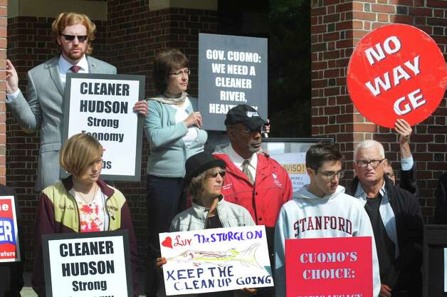 Protestors urged Gov. Andrew Cuomo to push GE to keep its dredging operation going for at least the next two years during a press conference and protest on the state of the GE Hudson River PCB cleanup on Thursday Oct. 1, 2015, at Saratoga Spa State Park in Saratoga Springs , N.Y.  (Michael P. Farrell/Times Union) Photo: Michael P. Farrell / 10033572A