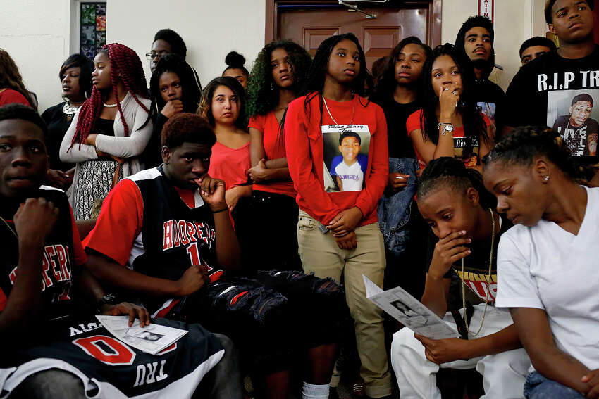 A standing room only crowd fills the sanctuary during the funeral for Tru Sincere Trusty, 16, at Tree Mount Temple Church in San Antonio on Thursday, Oct. 1, 2015. Trusty was shot and killed last Saturday.