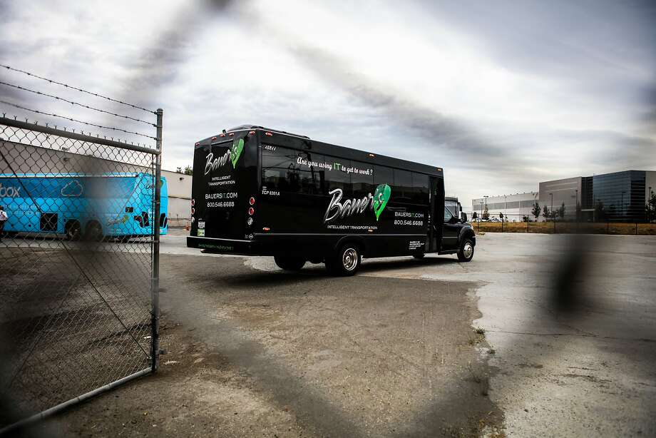 A Bauer Intelligent Transportation Bus pulls into a parking lot in Santa Clara, California on Wednesday, September 30, 2015. Bauer's Intelligent Transportation drivers voted on whether or not they would join the Teamsters Union. Photo: Gabrielle Lurie, Special To The Chronicle