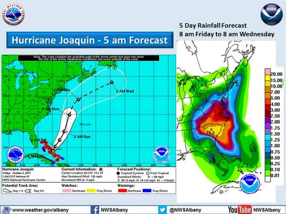 The National Weather Service in Albany says Hurricane Joaquin is expected to remain off shore. (National Weather Service)