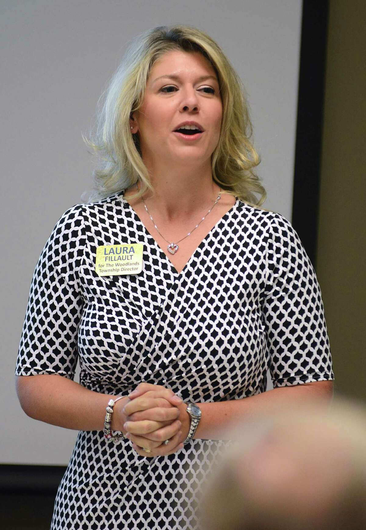 Candidate Laura Fillault speaks during the Bike The Woodlands Coalition's forum for candidates for The Woodlands Township Board of Directors. at the Huntsman Corporation meeting room. Photograph by David Hopper Str during the Stratford at Magnolia volleyball game. Photograph by David Hopper