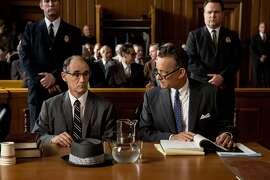 "Mark Rylance, left, as  Soviet spy Rudolf Abel and Tom Hanks as attorney James Donovan in ""Bridge of Spies"""