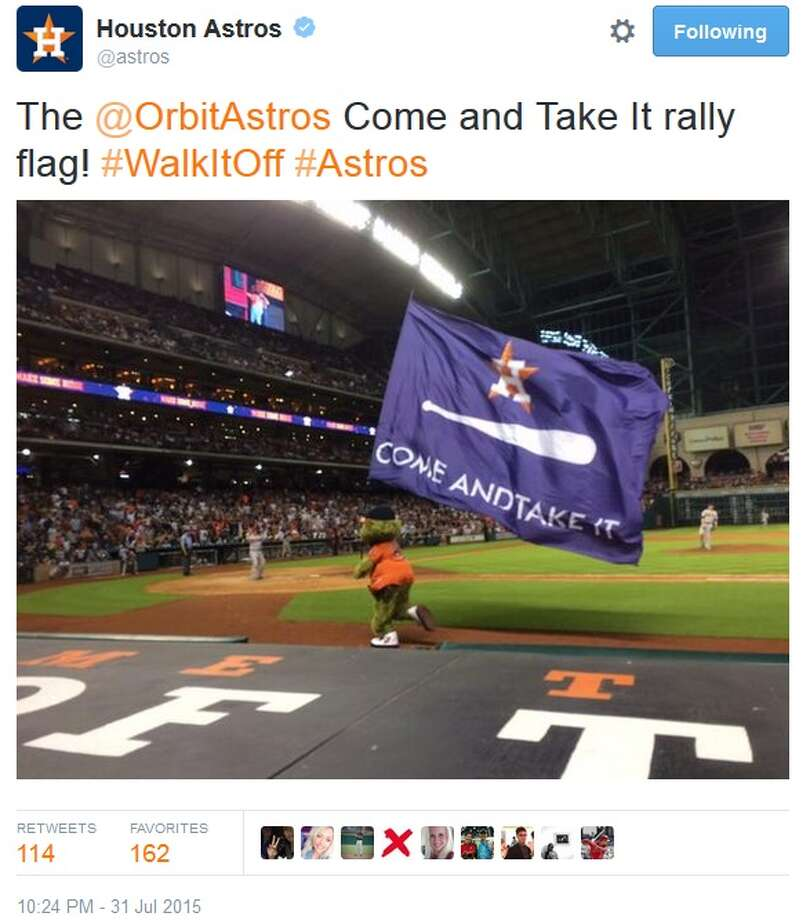 At Houston Astros games this year Orbit, the team's alien mascot, waves a flag with a baseball and an Astros logo, not unlike the Gonzales flag, to rally fans and the team at Minute Maid Park. Lord knows we needed it this season at times.