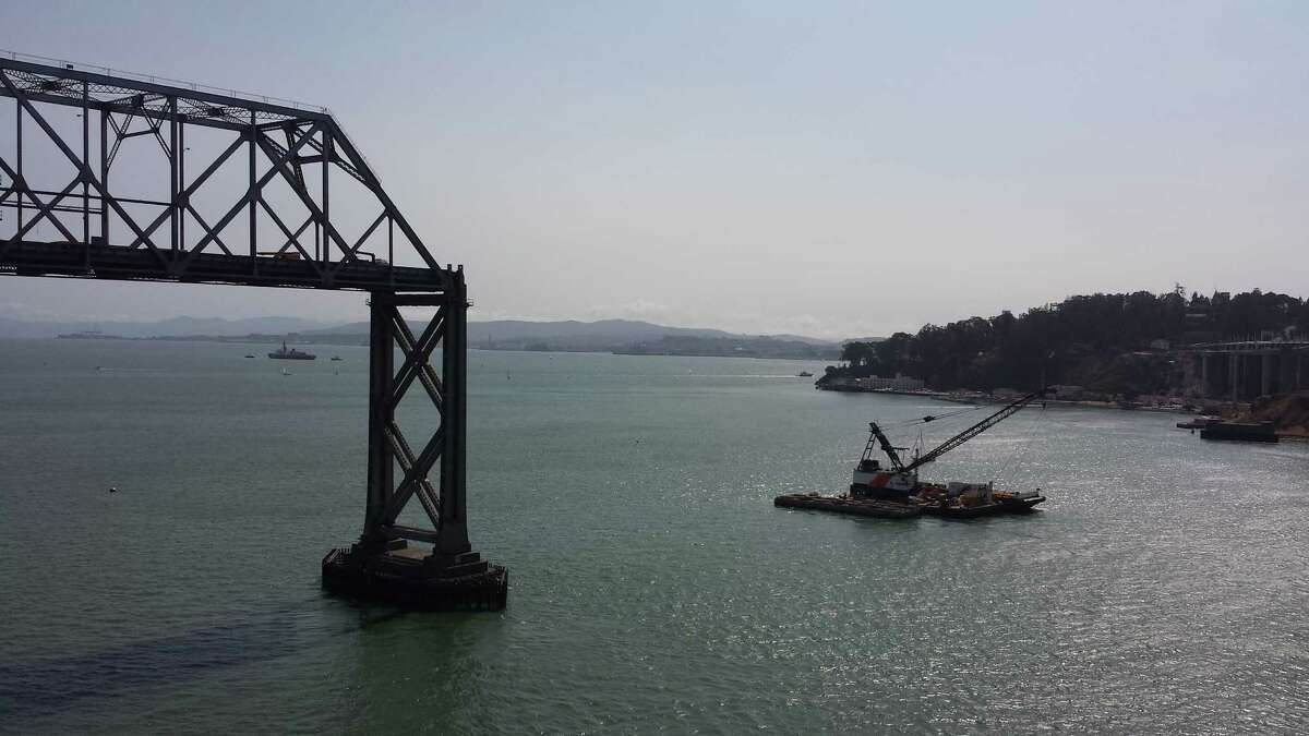 Caltrans received permission to carry out an implosion of the largest concrete pier of the old Bay Bridge eastern span.