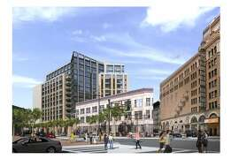 The current design for a proposed 13-story housing complex at 1028 Market St., designed by the architecture firm Solomon Cordwell Buenz for developer Tidewater Capital.