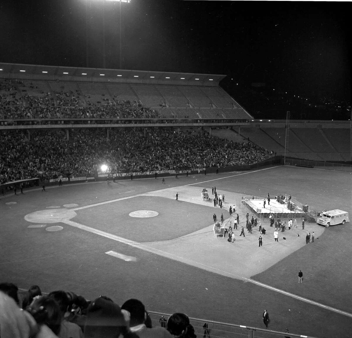 The Beatles perform live at Candlestick Park in San Francisco on August 30, 1966.