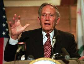 CHRONICLE 01/26/94 // U.S. Rep. Don Edwards announces his retirement during a press conference at a hotel in San Jose, Calif., Tuesday, Jan. 25, 1994. Edwards, a 79-year-old liberal democrat and former FBI agent, retires after serving San Jose's 16th Congressional District for over three decades. (AP Photo/Joe Pugliese)