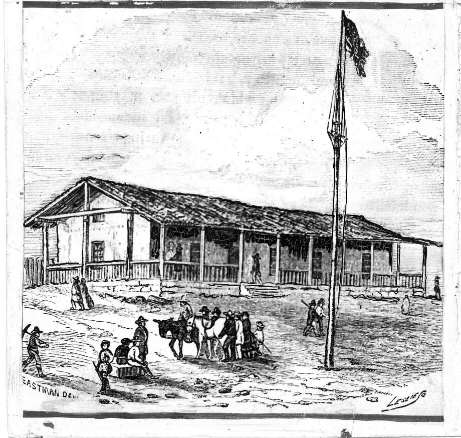 Old adobe Customhouse built in 1835 by the Spanish on the Plaza of the town of Yerba Buena. The Plaza is now Portsmouth Square and the town was soon to be renamed San Francisco.