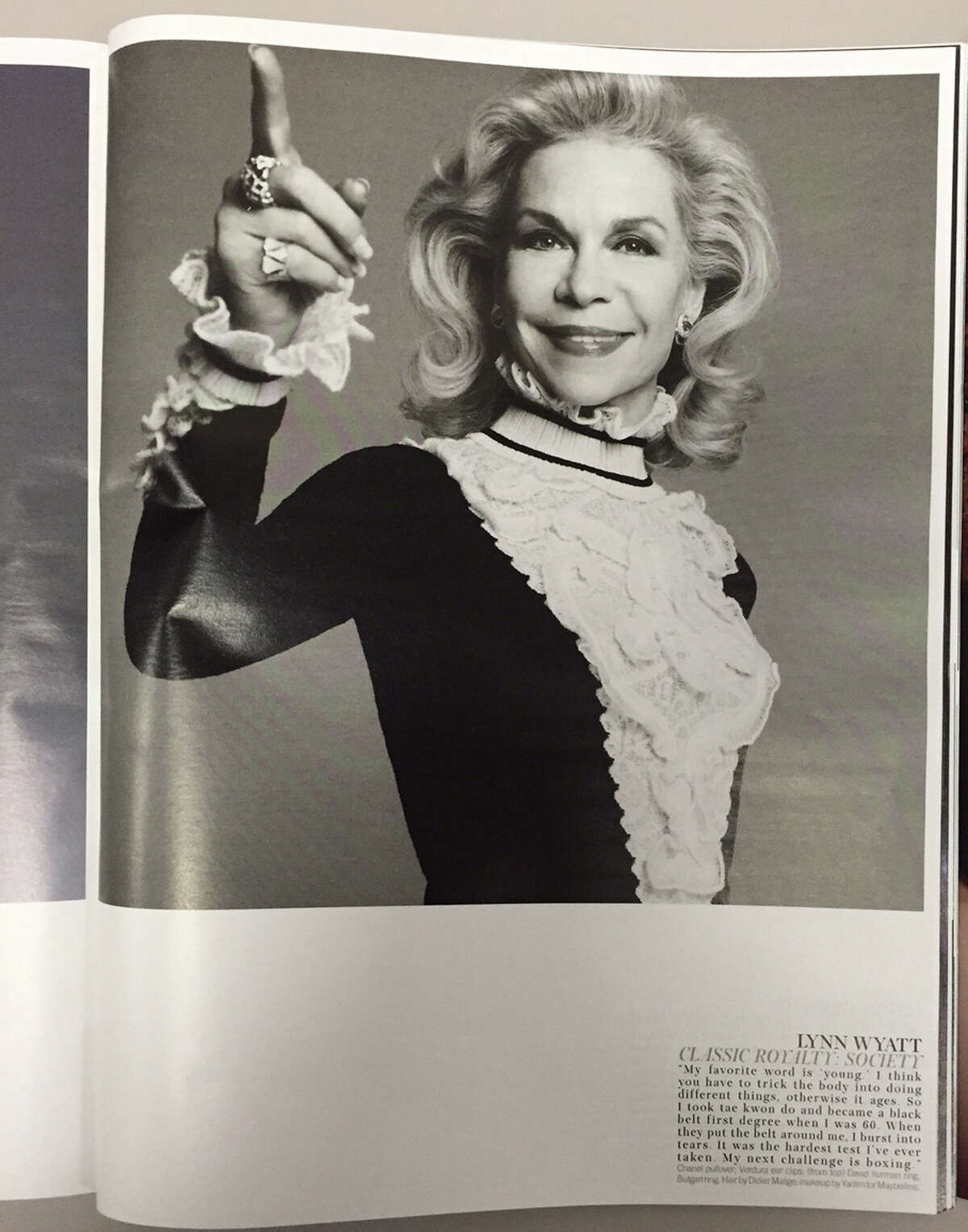 Houston philanthropist Lynn Wyatt in the October 2015 issue of W magazine.