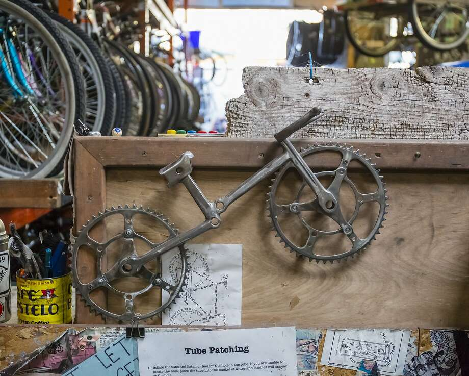 Art made out of bicycle parts above a customer workbench at Boise Bicycle Project on Friday, October 2, 2015, in Boise, Idaho. Photo: Otto Kitsinger, Special To The Chronicle