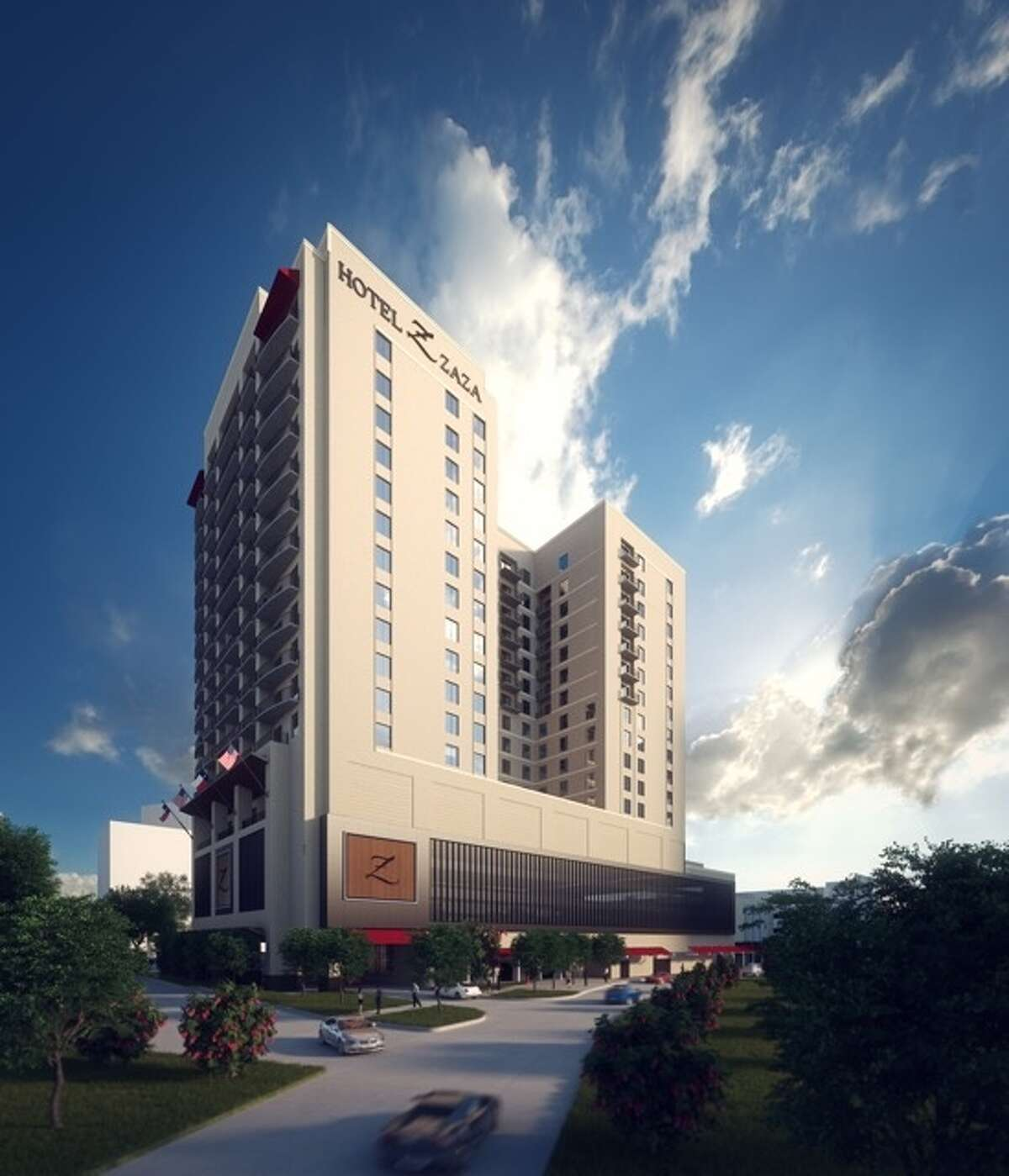 A rendering shows what the 17-story Hotel Zaza's Memorial City location will look like.