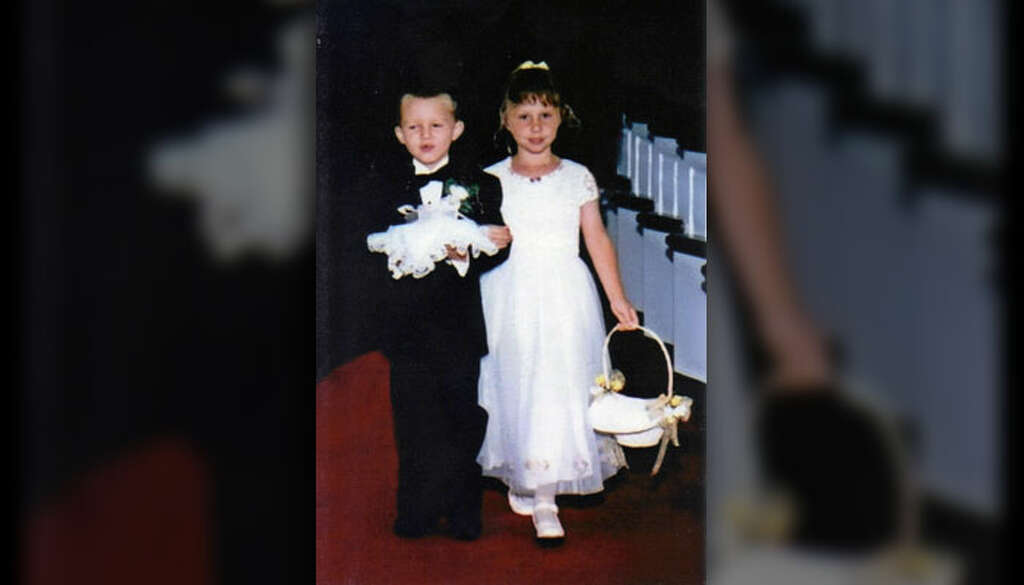 Ring bearer and flower girl get married in same church 17